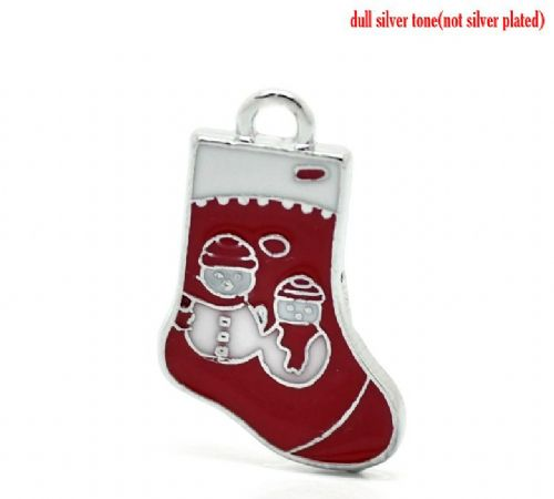 5 Red & White Enamel Christmas Stocking Charms with Snowmen 25mm x 16mm